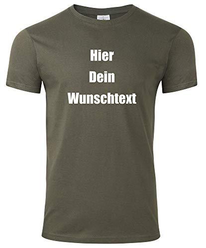Herren T-Shirt Bedrucken mit dem Amazon Tshirt Designer. T-Shirt selber gestalten. T-Shirt Druck. T-Shirt mit Wunschtext. T Shirts sind Ökotex-100 Zertifiziert. - Oliv XL