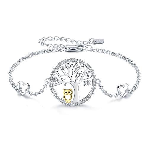 Baum des Lebens Eule Armband 925 Sterling Silber Cut Eule verstellbare Armreif Schmuck Geschenke für Frauen Mama Mädchen mit Geschenkbox (Lebens-armbänder Baum Des)