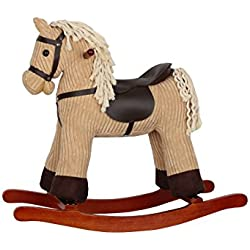 Sweety Toys–6816Loopie cavallo a dondolo beige/kaki Super süß, estremamente acciaio Cord Cotton