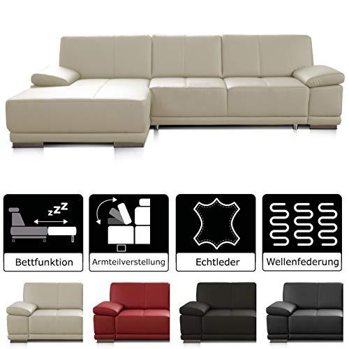 CAVADORE Schlafsofa Corianne mit Longchair links / Ledercouch in modernem Design / Inkl. beidseitiger Armteilverstellung / 282 x 80 x 162 / Echtleder weiß