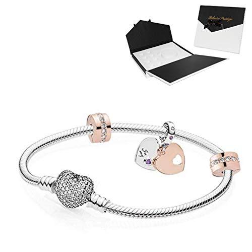 belinia prestige - Bracelet - Bracelet Charms Style européen (Argent coeur cristal, 17)