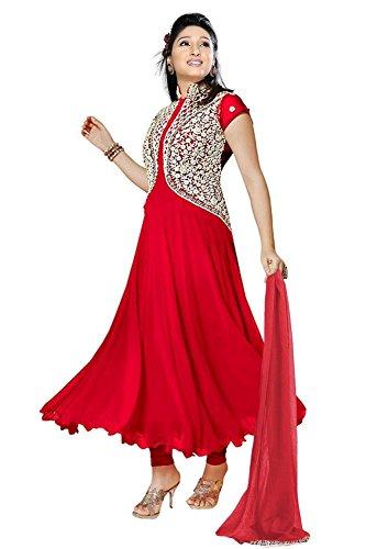 Clickedia Women\'s Georgette Anarkali Salwar Suit(Pankhuri - Red)
