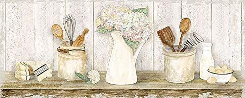 Rahmen-Kunst Keilrahmen-Bild - Tara Reed: Vintage Kitchen Panel Leinwandbild Küche Stillleben Shabby Chic Landhaus -
