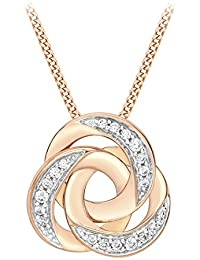 Carissima Gold Women's 9 ct Rose Gold Cubic Zirconia Disc Loop Pendant on Diamond Cut Curb Chain Necklace rPS0wgyDRI