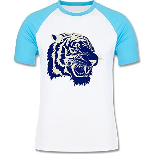 Wildnis - Tigerkopf - zweifarbiges Baseballshirt für Männer Weiß/Türkis