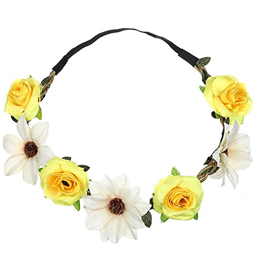 Headpiece Kostüm Flower - Beonzale Sonnenblumen-Rosen-Haarband-Dame Fresh Flower Portrait Foto Holiday Wedding Band Party Stirnband Exquisite Hair Hoop Party Headpiece Damen Mädchen
