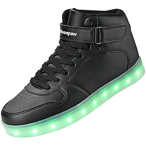 Shinmax Hi-Top LED Zapatos 7 Colores que Cambian con el Brillo de USB Recargables Hombres de las Mujeres Calza los Luminosos Zapatillas con Luces de Zapatillas LED con el Certificado del