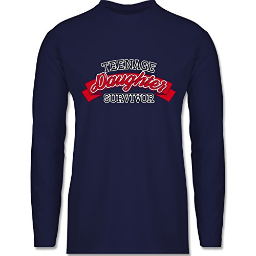 Vatertag - Teenage Daughter Survivor - Longsleeve / langärmeliges T-Shirt für Herren Navy Blau