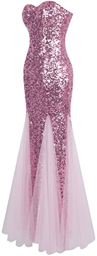 Angel-fashions Damen Ärmellos Blau Sequins Tüll Meerjungfrau Abendkleid Rosa