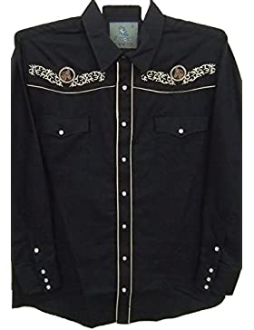 Modestone Men's Embroidered Long Sleeve Western Camicia Cowboy Men's Filigree Horse Black