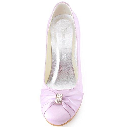 Elegantpark EP2005 bout Rond Crinkling Satin Boucle Coin Bas Femmes Chaussures de Mariee Lavande
