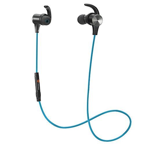Magnetiche, TaoTronics Auricolari Sportivi Wireless Stereo (4.1, IPX5, aptX, A2DP, 6 ore di Riproduzione, Microfono Incorporato, CVC 6.0 ) per iPhone, Galaxy, Tablet, MP3, ecc. – Blu