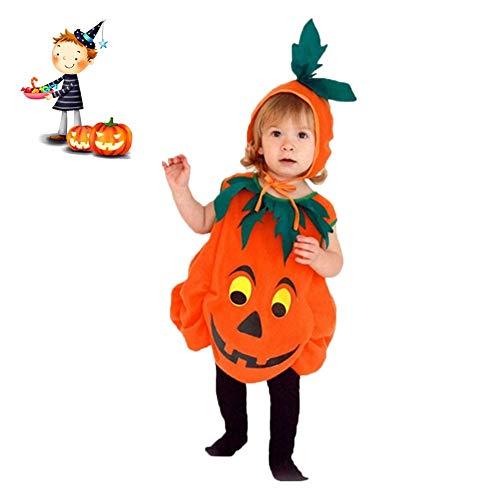 JYPCBHB Halloween Kürbis Kostüm Unisex Kleinkind kostüme Cosplay Jumpsuits Kleidung mit KopfschmuckSet A (Zug Kleinkind Kostüm)