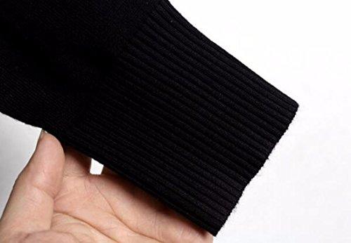QIYUN.ZBandes Longues Chandails À Manches Femmes Col V Automne Automne Pull Tops Noir