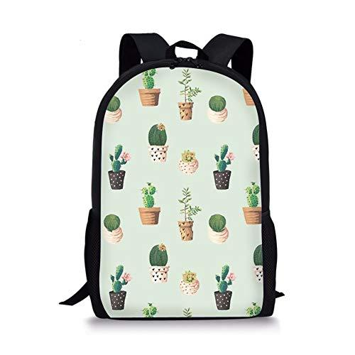 spArt Nette Katzen-Rucksack für Teen Mädchen, Leinwand bookbags für Schule Cartoon Sukkulente Malerei