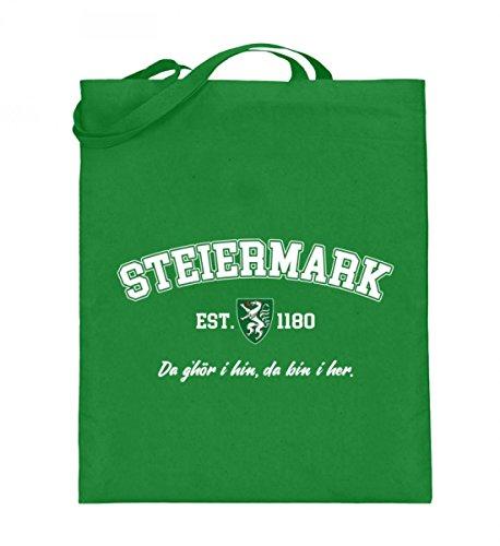 Hochwertiger Jutebeutel (mit langen Henkeln) - STEIERMARK - COLLEGESTYLE Light Green