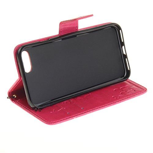 """MOONCASE iPhone 7 Bookstyle Étui Pissenlit Housse en Cuir Case à rabat Coque de protection Portefeuille TPU Case avec Béquille pour iPhone 7 4.7"""" Bleu Rouge"""