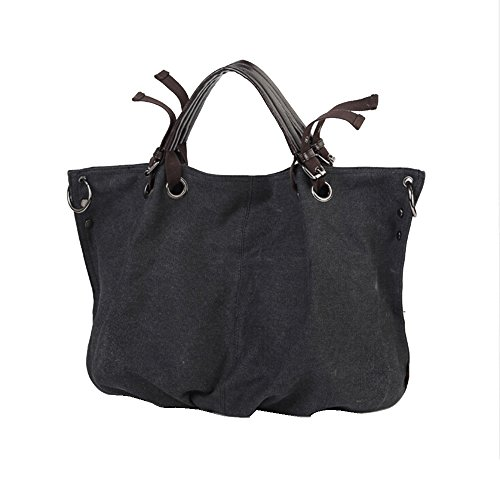 BYD - Donna Female School Bag Borse Tote Bag Travel Bag Canvas Bag Borse a mano Borse a spalla Shopping Bag with Multi Pockets Nero