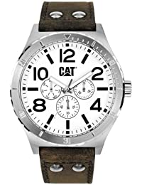 Cat Men's Quartz Watch with White Dial Analogue Display and Brown Leather Strap NI.149.35.232