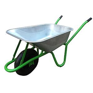 Walsall Carretilla en caja para jardín – acero galvanizado resistente – 90l