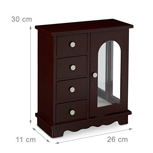 Relaxdays Schmuckkästchen mit Tür HxBxT: ca. 30 x 26 x 11 cm großer Schmuckkasten mit 4 Fächern Schmuckschrank aus Holz mit Schubladen und Spiegel Schränkchen mit Schmuckhalter für Ketten, dunkelbraun - 4