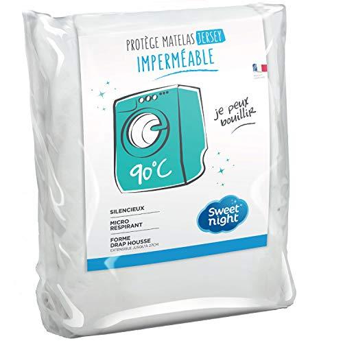 Sweetnight - Protège matelas 140x190/200 cm | Alèse Imperméable et Micro Respirante | Souple et Silencieux | Lavable à 90°C