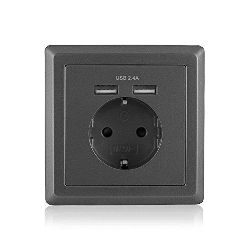 benon B2103 Steckdose mit USB Anschluss, Grau - Ladegerät für Smartphone, Tablet, etc. (Android/Apple) 2.4 USB
