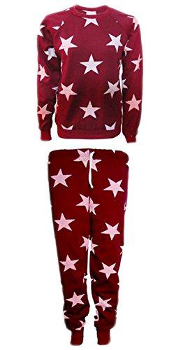 Miss Ta-daa Donna Fashion Star Stampa tuta felpa Jogger Set UK 8, 10, 12, 14 Wine