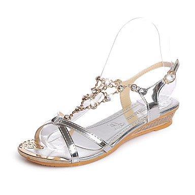 Rtry Heels Summer Premiers Marcheurs Pu Office & Amp; Carrière Sportswear Wedge Buckle Heel Noir Argent Or Marche Us5.5 / Eu36 / Uk3.5 / Cn35