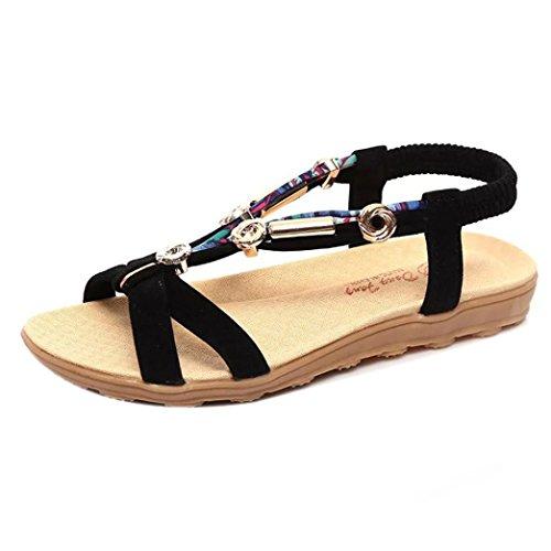 Sandalen Damen Sommer Btruely Mode Böhmen Schuhe Damen Flach Sandalen Römische Sandalen Flip Flops (42, Schwarz) (Römische Schwarz Sandalen)