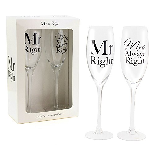Mr Right & Mrs Always Right Set of two Champagne Flutes