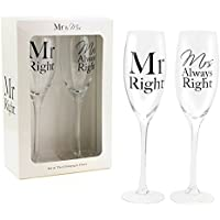 "'""Mr Right & Mrs Always Right Set of Two Champagne Flutes"