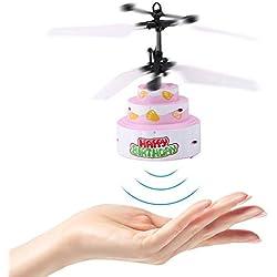Dilwe RC Helicóptero, Forma de Pastel Inducción Infrarroja Carga USB Volador Avión Juguete Aeronave con Canción de Cumpleaños LED Iluminación
