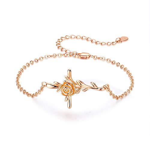 Damen Kreuz Armband 925 Sterling Silber 18k Plattierung Rosegold Bettelarmband Religion religiöses verstellbare Armbänder Link für Frauen,Mutter, Mädchen,Freundin - Lehrer Armband Silber