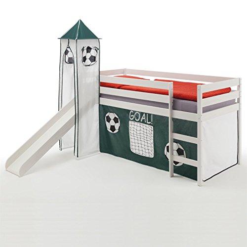 Rutschbett Hochbett Spielbett Bett BENNY Kiefer massiv weiss mit Turm+Vorhang Fussball 90 x 200 cm (B x L) mit Rutsche
