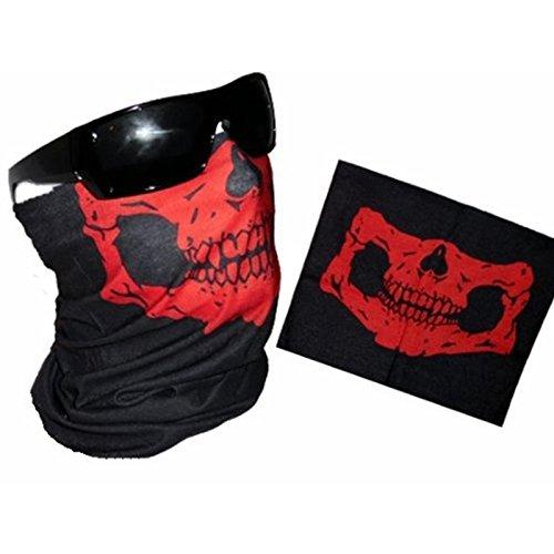 Skull Balaclava bandana collo maschera, elastici Skull Face Mask motorcycle Biker Snowboards casco da bici, moto sciarpa poliestere viso scaldacollo per sci moto ciclismo, red