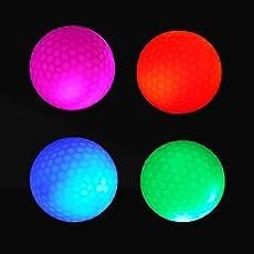 4 pezzi Crestgolf LED Light Up Palline da golf Night Golf Ball Dimensioni ufficiali Glow in Dark Perfect per pratica Golf Colpi a lunga distanza e distanza (rosa / rosso / blu / verde)