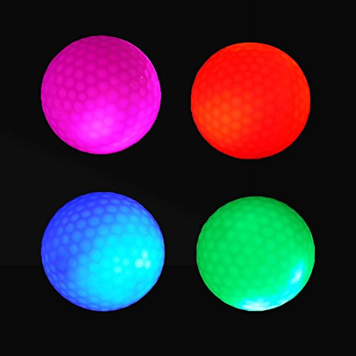 4 Stück Crestgolf LED leuchten Golfbälle Nacht Golfball Offizielle Größe Glühen in Dunkel Perfekt für Golf Praxis Langstrecken und Distanzschüsse (rosa / rot / blau / grün)