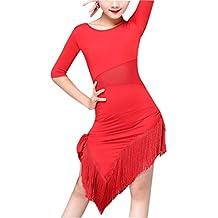 Vestido de Baile Latino para Niñas - Disfraces Falda de Leotardo Ropa con Borla Salsa Tango