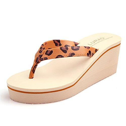 high heel flip flops/Lady prevenzione frana tarda estate con spessore clip/muffin spiaggia sandali e ciabatte/ A