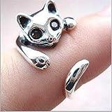 LIXIAQ1 Elegante Nette Katze Tier Ring Kreative Persönlichkeit Schmuck Für Frauen, Silber + schwarzer Diamant