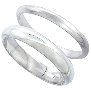 Revoni Sterling Silver High Dome Wedding Band Ring Set His and Hers 2 mm + 4 mm, size H