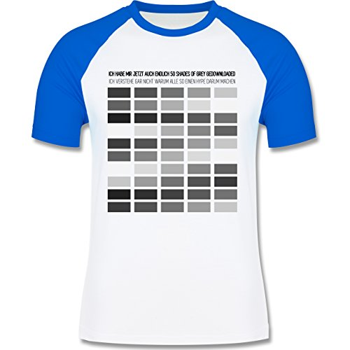 Statement Shirts - Ich habe Shades of grey gedownloaded - zweifarbiges Baseballshirt für Männer Weiß/Royalblau