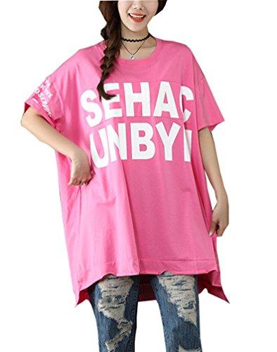 OKSakady Frau Übergröße Baumwolle Kurzarm T-Shirt Oben Abschlag Mini Kleid (T-shirt College-student-mädchen)