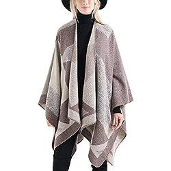 FEOYA Poncho de Invierno Mujer Bufanda Chal Grande Tamaño Irregular Geométrico Moda Calentito Suave Elegante Beige 160 * 135cm