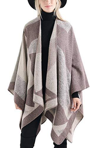 FEOYA Poncho de Invierno Mujer Bufanda Chal Grande Tamaño Irregular Geométrico Moda Calentito Suave...