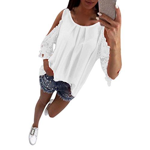 Frauen Spitze Weißer Spitzen (Damen Bluse, DoraMe Frauen Hohl Spitzen Hemd Casual ärmel Locker T-shirt (L, Weiß))