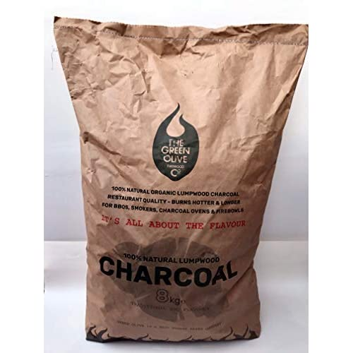 41Zn%2B2tmBbL. SS500  - The Green Olive Firewood 8kg Restaurant Grade Lumpwood Charcoal, Natural, 8kge