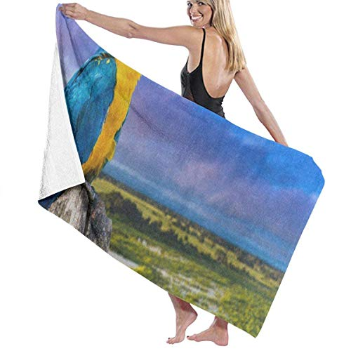 Serviette de bain, Blue Yellow Macaw Parrot Mountain Landscape Personalized Custom Women Men Quick Dry Lightweight Beach & Bath Blanket Great for Beach Trips, Pool, Swimming and Camping 31
