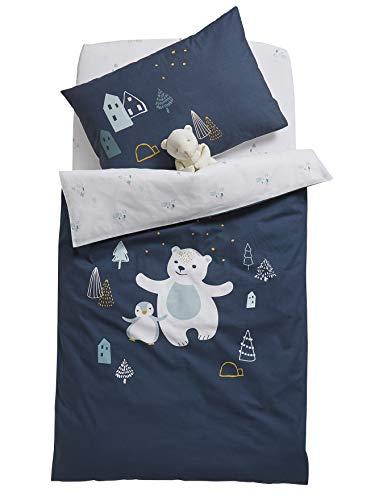 Vertbaudet Housse de Couette bébé LAPONIE Bleu Nuit 80X120
